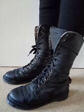 Vintage Women's Dr Marten Air Wair 12 Eye Black Fold Down Combat Boots Size 6