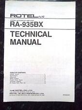 Rotel tecnica (SERVICE) MANUALE PER L'AMPLIFICATORE INTEGRATO STEREO ra-935bx