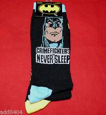 DC Comics Batman Socks - 2 pr Crew Socks Crimefighters Never Sleep shoe sz 6-12