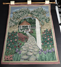 Garden Gazebo Wall Hanging Woven Tapestry USA Wood Hanging Rod