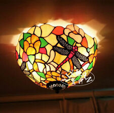 Tiffany Style Dragonfly Stained Glass Ceiling Lamp Flush Mount Double Light New