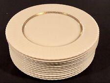 "Lenox China Cretan 12 Dinner Plates Gold Greek Key Pattern 10 3/4"" Gold Ivory"