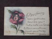 FANTASY ART FACE IN ROSE FLOWER Vtg 1906 POSTCARD - SEASON'S GREETINGS