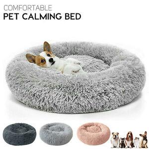 Dog Cat Bed Fluffy Donut Kitten Puppy Pet Cushion Calming Mattress Warm Comfy