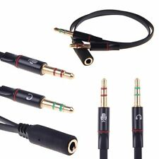 1 female to dual 2 male 3.5mm Jack Audio Stereo Headset Mic Splitter Cable adapt
