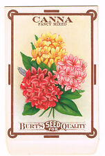 VINTAGE SEED PACKET FLOWERS C1910 GENERAL STORE GARDEN CANNA MIXED FOLK ART