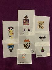 HandPainted Needlepoint Canvas Lot of 8 Halloween Themed Designer Canvases
