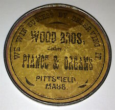 Rare Antique American Advertising Mirror Wood Bros. Instrument Dealers! Pianos!