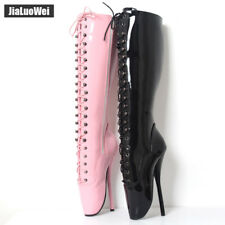 "18cm/7"" Spike High Heel Pointe Sexy Knee-high lace-up unisex BALLET Boots"