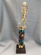 male youth Basketball trophy rainbow theme column black finish wood base