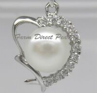 """925 STERLING SILVER 18"""" Genuine HEART Pearl Pendant Necklace Cultured Freshwater"""