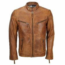Mens Ladies Real Leather Vintage Fitted Biker Jacket for Him or Her in Tan Brown