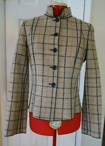 Woven Plaid Tan Brown Gold Les Copains Wool Waist Length Jacket - Size 40