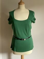 Autograph Marks & Spencer Green Capped Sleeve Top With Black Belt Size 14 BNWT
