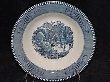 "Currier Ives Royal China Blue and White Soup Bowl 8 1/2"" 2nd Quality"