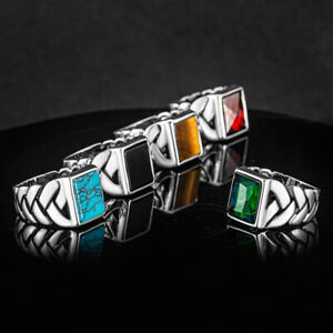 Solid 925 Sterling Silver Rectangle Turquoise Tiger's Eye Onyx Stone Men's Ring