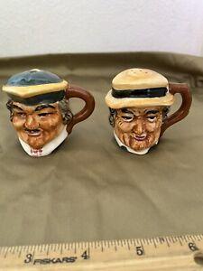 Vintage Old Faces C. 1951 Japan, Salt & Pepper Shakers, No Damage. Estate Sale