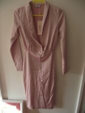 BNWT OH POLLY NEW LONG SLEEVE PLUNGE DRESS ROSE GOLD uk SIZE 8 pink