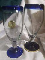 Art Glass Hand Blown DP Stemware Thick Cobalt Blue Lip Rim Base VTG Wine Goblets