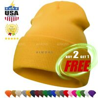 Cuff Beanie Plain Knit Hat Winter Solid Cap Slouchy Skull Ski Warm Men Woman