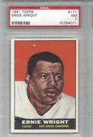 1961 Topps AFL football card #171 Ernie Wright, San Diego Chargers graded PSA 7