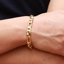Fashion Bracelets Men's Women Curb Chain Gold Plated Link Bracelets