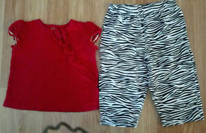 Girl's Size 3-6 M Month Two Piece Red Ruffled Top & Zebra Designed Legging Pants