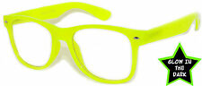 GLOW IN THE DARK VINTAGE RETRO OWL CLEAR LENS SUNGLASSES PARTY YELLOW