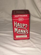 Haupt-mann's Cigar Vintage Tin 10 Cents 25 Count Cigar Metal Box Hauptmann's