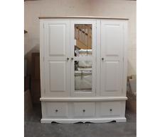 HAMPSHIRE PAINTED 3 DOOR GENTS WARDROBE /SOLID PINE - SOLID OAK - F&B WHITE TIE