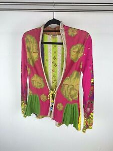 IVKO Woman Pink Multi Coloured Floral Patterned Tie Flared Sleeve Cardigan UK S