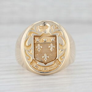 Burch Coat of Arms Signet Ring 10k Yellow Gold Size 9.75 Family Seal