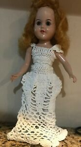 "Beautiful Antique 1950's Hard Plastic Strung 11 "" Doll in Crochet Dress/"