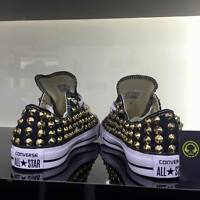Converse All star Nere Basse personalizzate con borchie oro full clean