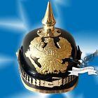 Prussian Leather Helmet - Deluxe German Officer Pickelhaube Helmet WW1 WW2 Hat