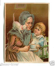 Victorian Trade Card ROYAL JAVA COFFEE Old Lady Little Girl & white Cat
