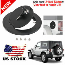 Matte Black Gas Fuel Tank Door Cover Cap+Lock For 07-17 Jeep Wrangler 2/4 Door