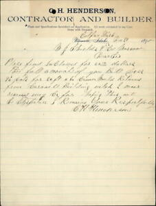 1890 Colfax Washington (WA) Letter C. H. Henderson,Contractor and Builder