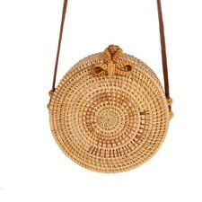 US Women Straw Bag Hand Beach Rattan Shoulder Bags Bamboo Bag Handbag Crossbody