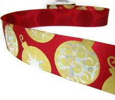 """3 Yds Christmas Red Gold Silver Bauble Ornaments Acetate Ribbon 1 3/8""""W"""
