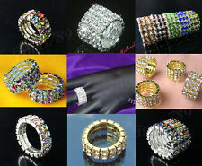 New Lots Fashion 1-5Rows Colors Styles Stretchy Crystal Rhinestone Finger Rings