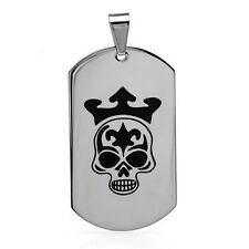 Cool  King Skull Dog Tag Pendant in Stainless steel.