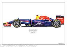 2014  Red Bull RB10 - Sebastian Vettel ltd ed/250 art print A4 signed by artist
