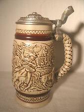 """THE WILD WEST"" LIDDED STEIN  VERY NICE! 1980 CATTLE DRIVE, STAGE COACH, ROPING"