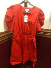 Women's Dress Loveriche Faux Wrap Belt Puff Sleeve Red Lined
