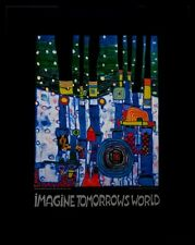 Hundertwasser Blue blues Imagine tomorrows world Poster Kunstdruck und Rahmen
