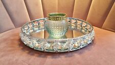 NEW Crystal Mirrored Silver Tray & 1 Tealight Candle Holder Home Decor Gift