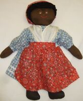 Beautiful Vintage Handmade Primitive Cloth Doll Sewn Face Black Americana