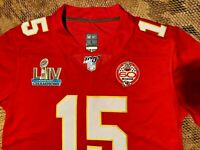 Patrick Mahomes #15 KC Chiefs Red Super Bowl 54 Champions Jersey - Large