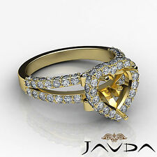 Diamond Engagement Heart Shape Ring 1.55Ct 18k Yellow Gold Halo Pave Semi Mount